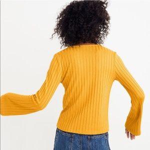 Madewell Sweaters - Madewell Bell Sleeve Rib Knit Cardigan Nectar Gold